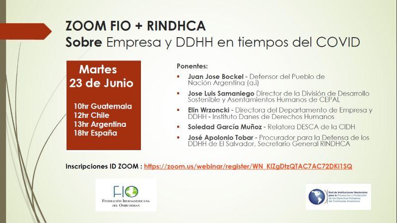 Webinar: Empresa y DDHH en tiempos del COVID